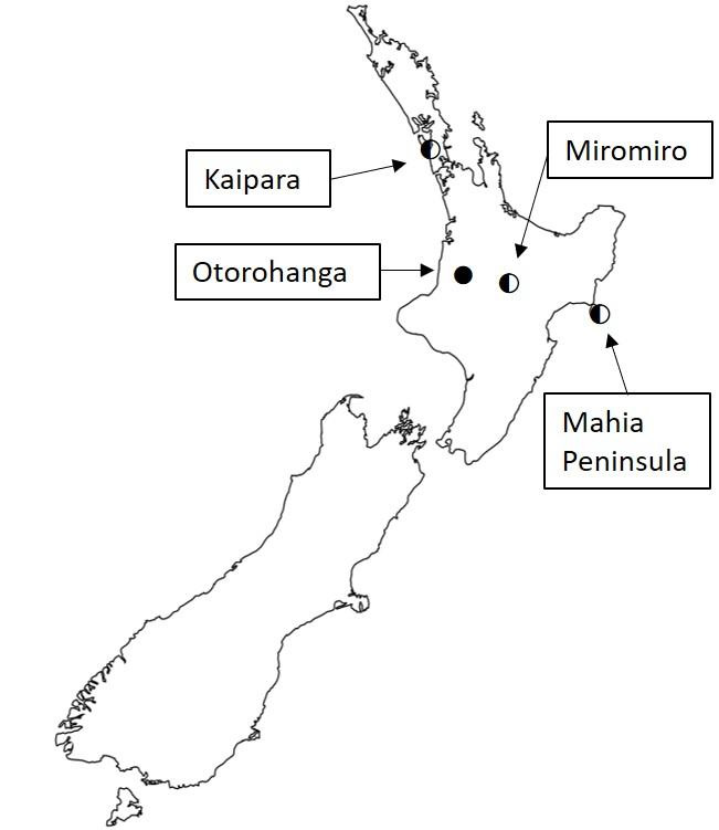 New Zealand field sites for monitoring